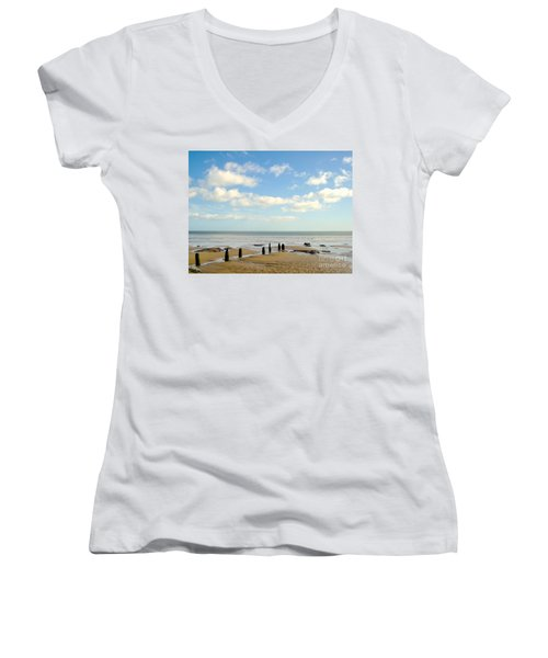 Women's V-Neck T-Shirt (Junior Cut) featuring the photograph Beach Skies by Suzanne Oesterling