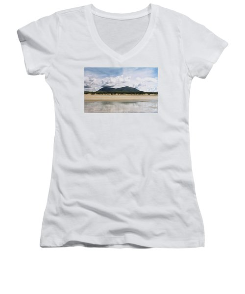 Women's V-Neck T-Shirt (Junior Cut) featuring the photograph Beach Sky And Mountains by Rebecca Harman