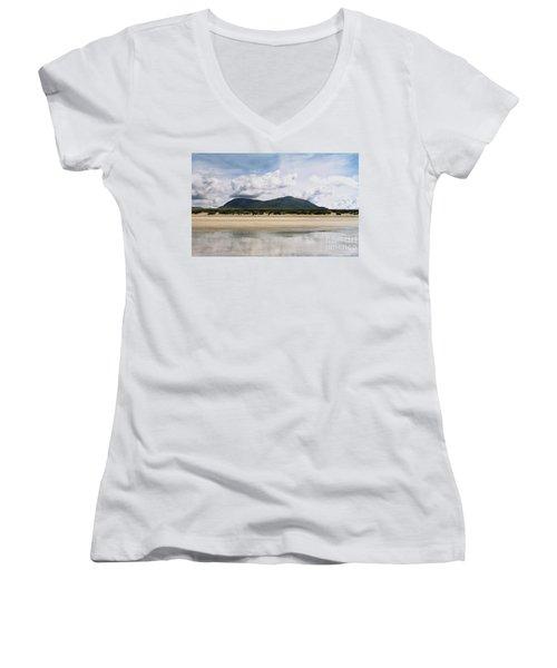 Beach Sky And Mountains Women's V-Neck T-Shirt