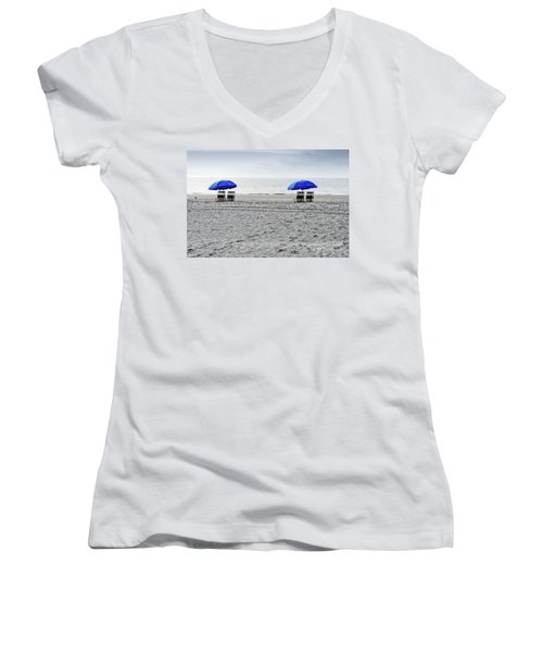 Beach Umbrellas On A Cloudy Day Women's V-Neck (Athletic Fit)