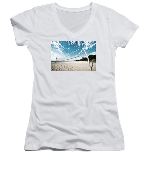 Beach Volleyball Net Women's V-Neck