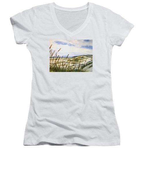 Beach Watercolor 3-19-12 Julianne Felton Women's V-Neck