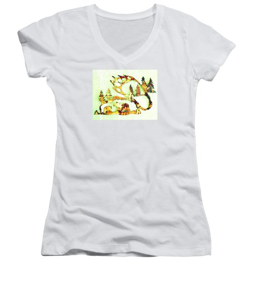 Bear Track 8 Women's V-Neck T-Shirt (Junior Cut) by Larry Campbell