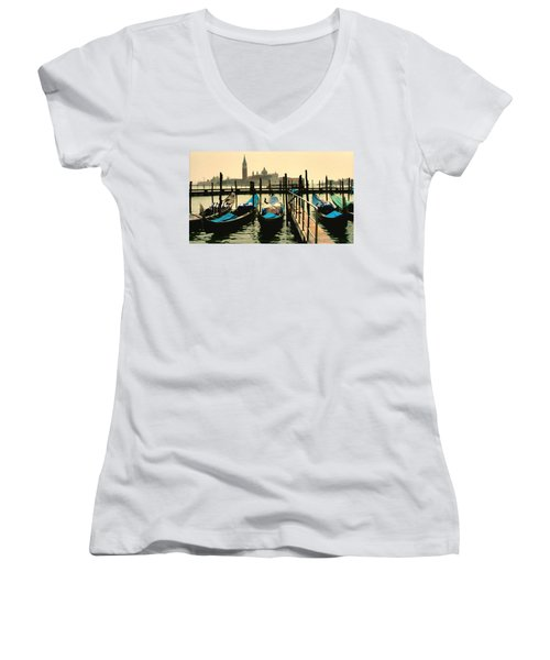 Women's V-Neck T-Shirt (Junior Cut) featuring the photograph Beautiful Day In Venice by Brian Reaves