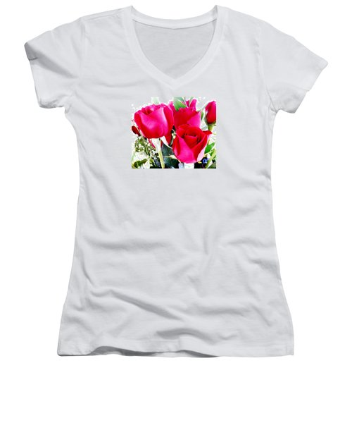 Beautiful Neon Red Roses Women's V-Neck T-Shirt