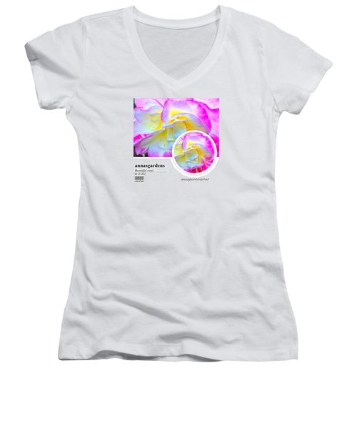Beautiful Pink And Yellow Rose Women's V-Neck (Athletic Fit)