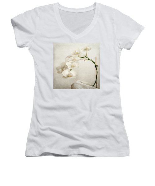 Beautiful White Orchid II Women's V-Neck T-Shirt