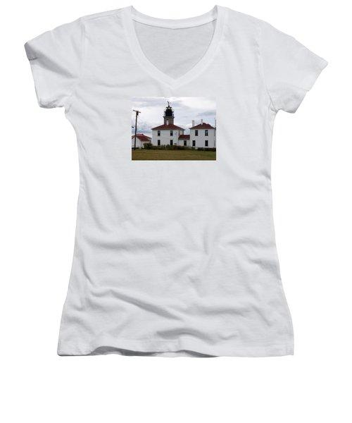 Beavertail Lighthouse Women's V-Neck T-Shirt (Junior Cut) by Catherine Gagne