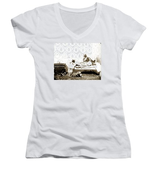 Women's V-Neck T-Shirt (Junior Cut) featuring the photograph Bed Time For Kitty Cats Histrica Photo Circa 1900 by California Views Mr Pat Hathaway Archives