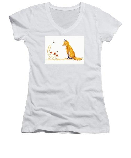Bee A Summer Fox Women's V-Neck T-Shirt