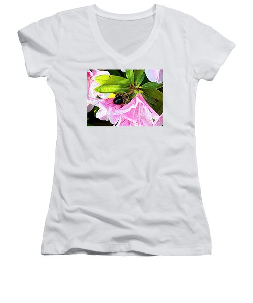 Bee On  Pink Azalea Women's V-Neck T-Shirt