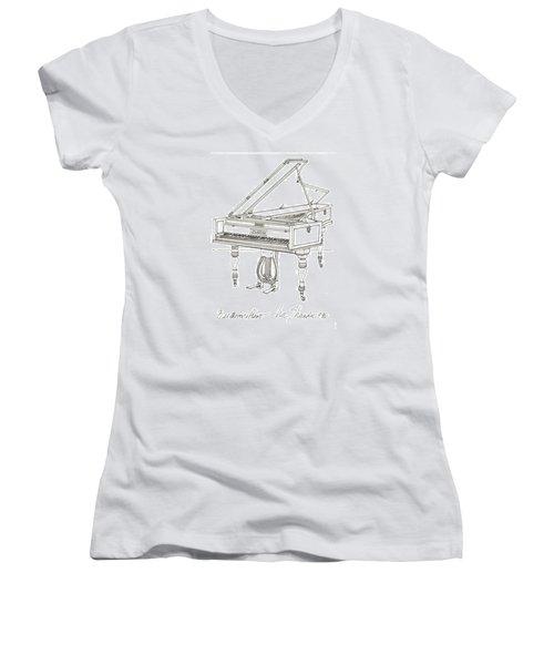 Beethoven's Broadwood Grand  Piano Women's V-Neck T-Shirt (Junior Cut) by Ira Shander