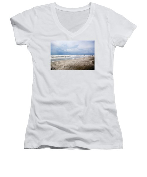 Women's V-Neck T-Shirt (Junior Cut) featuring the photograph Before The Storm by Sennie Pierson