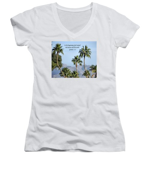 Women's V-Neck T-Shirt (Junior Cut) featuring the photograph Beginning by Deb Halloran