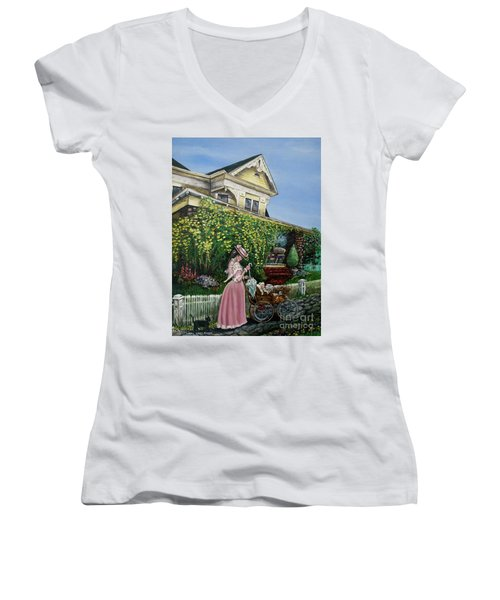 Behind The Garden Gate Women's V-Neck T-Shirt (Junior Cut) by Linda Simon