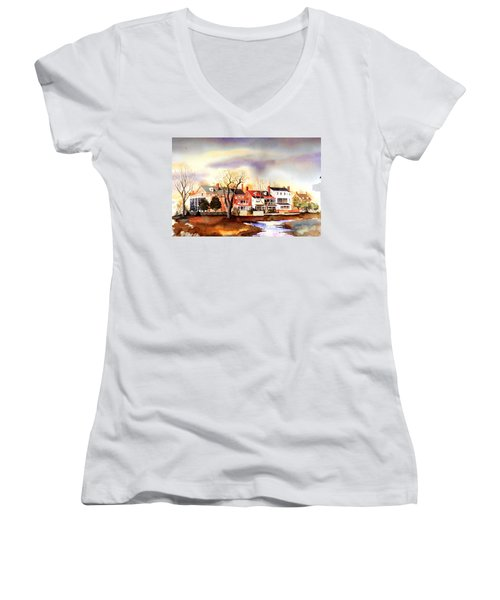 Behind The Strand In New Castle Women's V-Neck