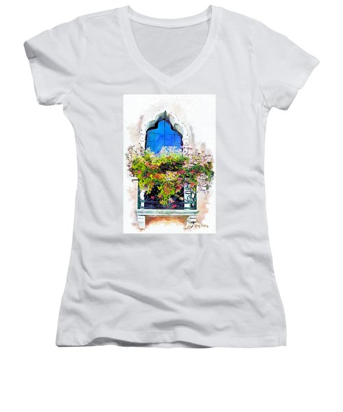 Women's V-Neck T-Shirt (Junior Cut) featuring the painting Bei Fiori by Greg Collins