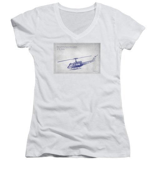 Bell Uh-1h Huey Helicopter  Women's V-Neck T-Shirt (Junior Cut) by Barry Jones