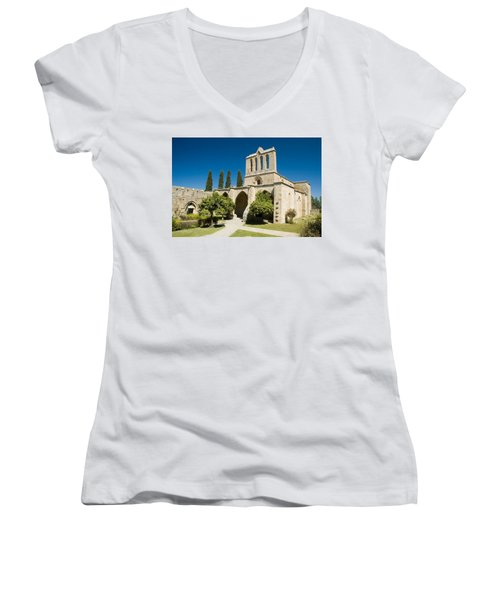 Bellapais Abbey Kyrenia Women's V-Neck T-Shirt (Junior Cut) by Jeremy Voisey