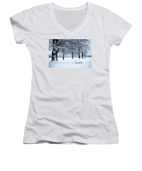 Bench In Snow Women's V-Neck (Athletic Fit)