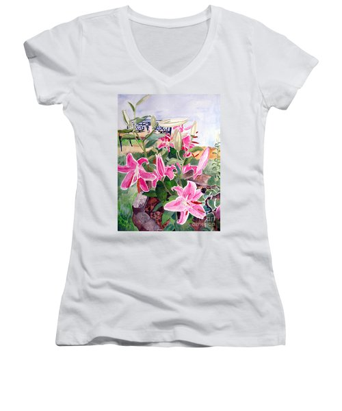Bench On A Hill Women's V-Neck (Athletic Fit)