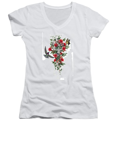 Women's V-Neck T-Shirt (Junior Cut) featuring the painting Beneath Summer's Promise by Pat Erickson