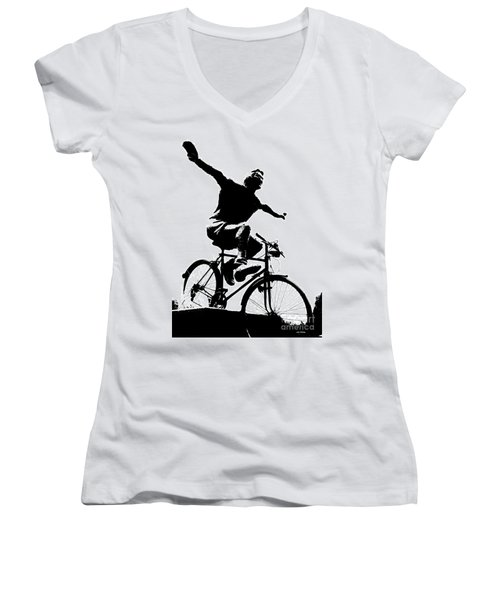 Bicycle - Black And White Pixels Women's V-Neck (Athletic Fit)