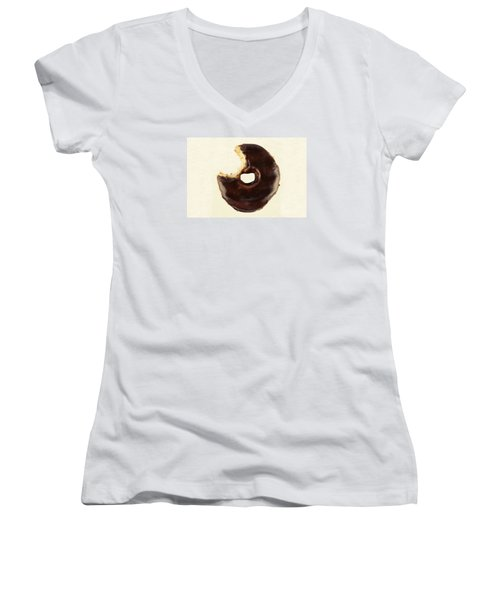 Women's V-Neck T-Shirt (Junior Cut) featuring the photograph Chocolate Donut With Missing Bite by Vizual Studio