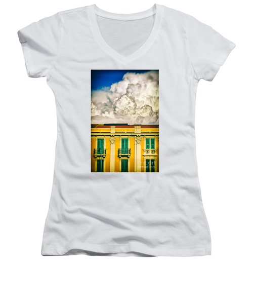Women's V-Neck T-Shirt (Junior Cut) featuring the photograph Big Cloud Over City Building by Silvia Ganora