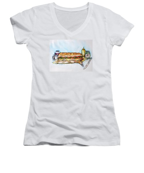 Big Ol Samich Women's V-Neck T-Shirt (Junior Cut) by Shana Rowe Jackson