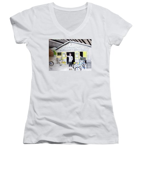 Women's V-Neck T-Shirt (Junior Cut) featuring the drawing Bike Pittsburgh by Albert Puskaric