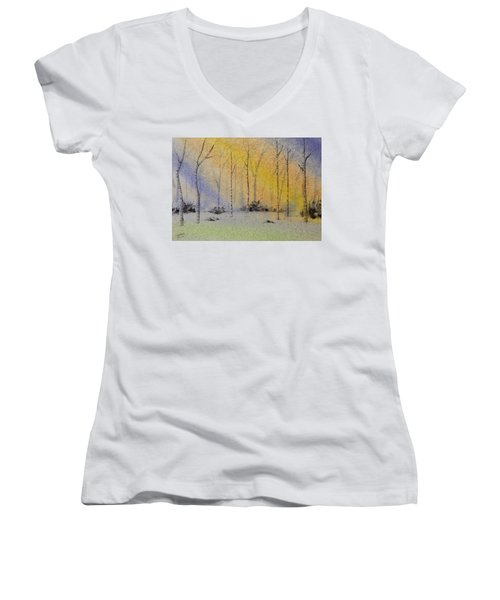 Women's V-Neck T-Shirt (Junior Cut) featuring the painting Birch In Blue by Richard Faulkner
