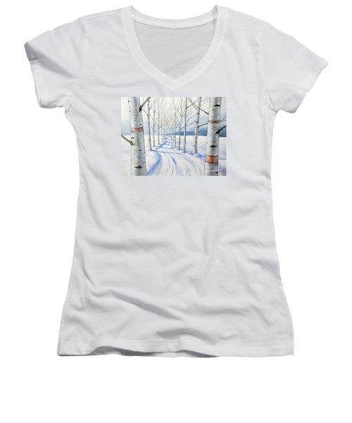 Birch Trees Along The Curvy Road Women's V-Neck T-Shirt