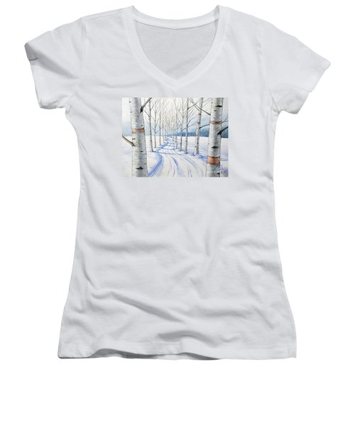 Birch Trees Along The Curvy Road Women's V-Neck