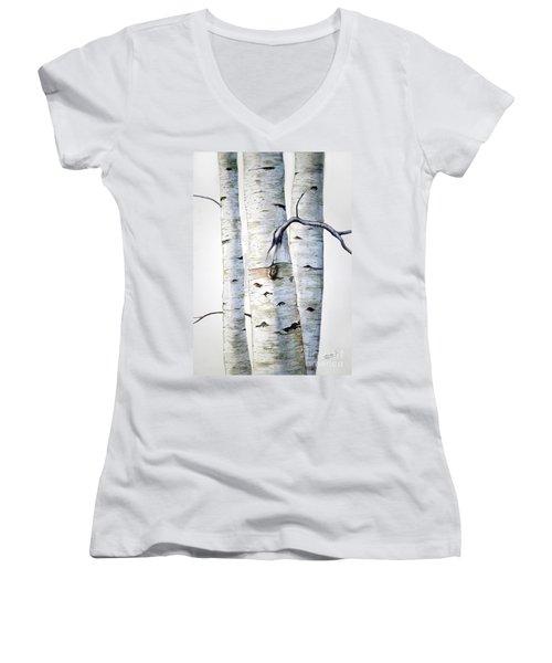 Birch Trees In Watercolor Women's V-Neck