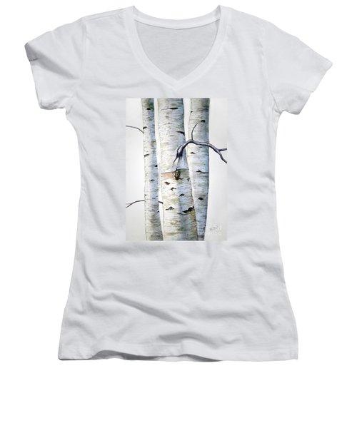 Birch Trees Women's V-Neck T-Shirt