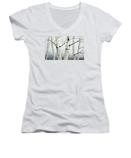 Birch Trees In The Forest By Christopher Shellhammer Women's V-Neck (Athletic Fit)