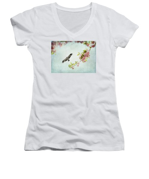 Bird And Pink And Green Flowering Branch On Blue Women's V-Neck T-Shirt