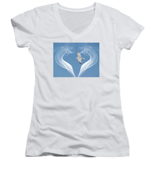 Bird In Flight Women's V-Neck T-Shirt (Junior Cut) by Athala Carole Bruckner