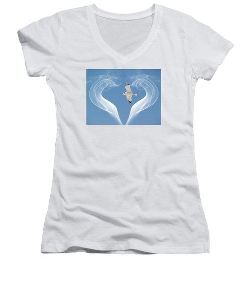 Bird In Flight Women's V-Neck T-Shirt