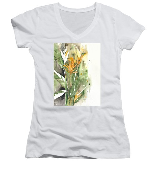 Bird Of Paradise 08 Elena Yakubovich  Women's V-Neck T-Shirt (Junior Cut) by Elena Yakubovich