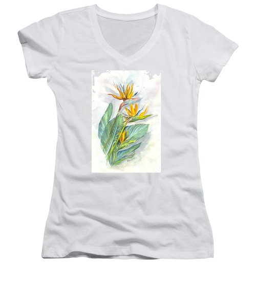 Bird Of Paradise Women's V-Neck T-Shirt (Junior Cut) by Carol Wisniewski