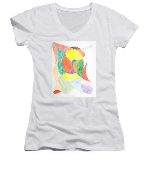 Women's V-Neck T-Shirt (Junior Cut) featuring the painting Duck by Stormm Bradshaw