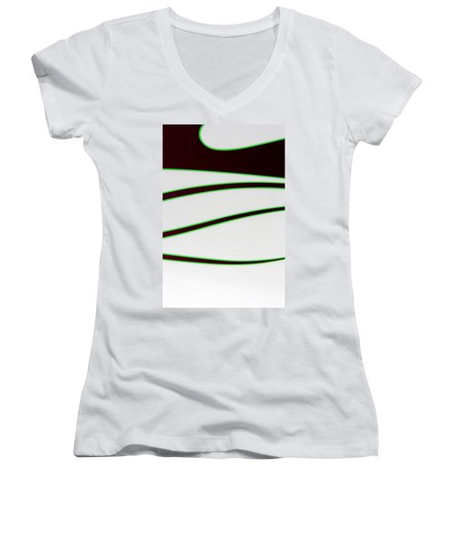 Women's V-Neck T-Shirt (Junior Cut) featuring the photograph Black And Green by Joe Kozlowski