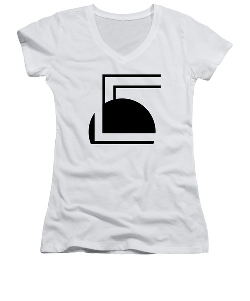 Black And White Art - 127 Women's V-Neck T-Shirt (Junior Cut) by Ely Arsha