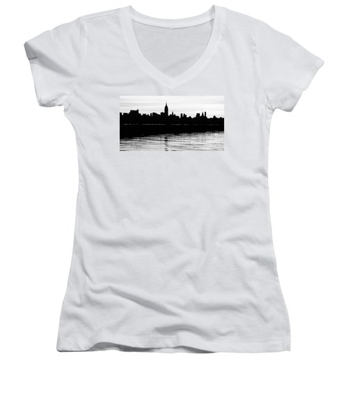 Women's V-Neck T-Shirt (Junior Cut) featuring the photograph Black And White Nyc Morning Reflections by Lilliana Mendez