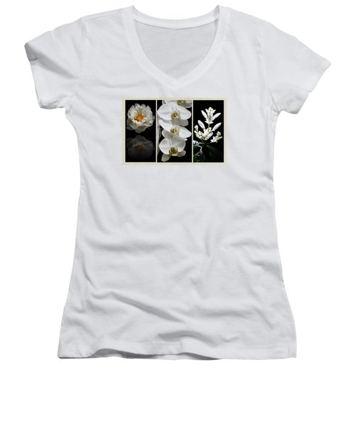 Black And White Triptych Women's V-Neck T-Shirt (Junior Cut) by Judy Vincent
