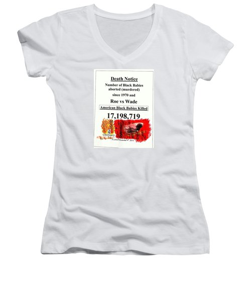 Black Babies Killed Aborted Murdered 1 Since 1970 And Roe Vs Wade Women's V-Neck T-Shirt (Junior Cut) by Richard W Linford