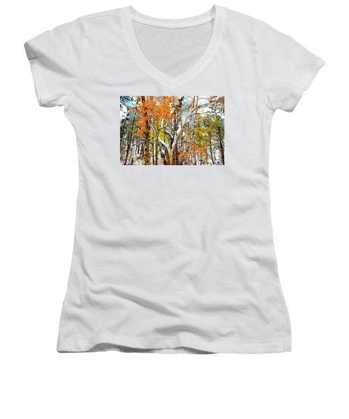 Women's V-Neck T-Shirt (Junior Cut) featuring the photograph Black Hills Entanglement by Clarice  Lakota