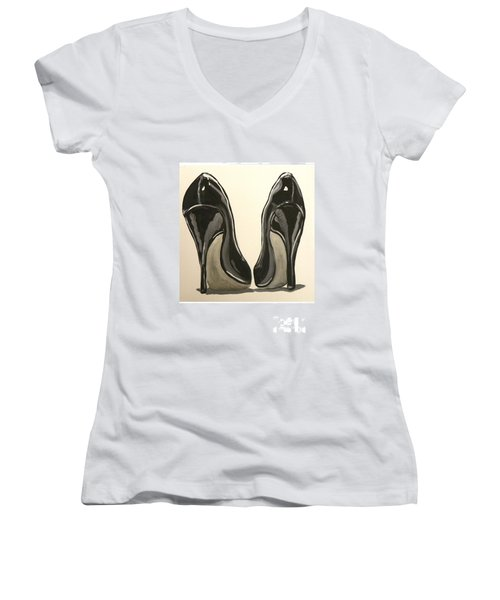 Women's V-Neck T-Shirt (Junior Cut) featuring the painting Black Pumps by Marisela Mungia